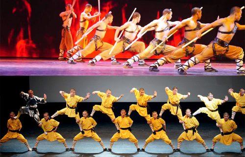 حرکات آکروباتیک در نمایش افسانه کونگ فو چین در شهر پکن